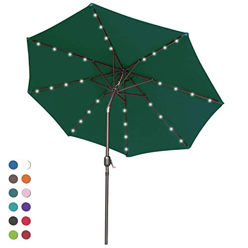 ABCCANOPY 9FT Patio Umbrella Ourdoor Solar Umbrella LED Umbrellas with 32LED Lights, Tilt and Crank Table Umbrellas for Garden, Deck, Backyard and Pool,12+Colors, (Burgundy)