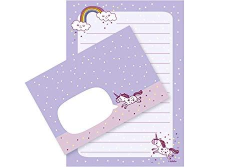 Einhorn-Briefpapier-Set für Mädchen: 25 Blatt Format DIN A5, liniert + 10 Briefumschläge (Kinder, rosa/blau)