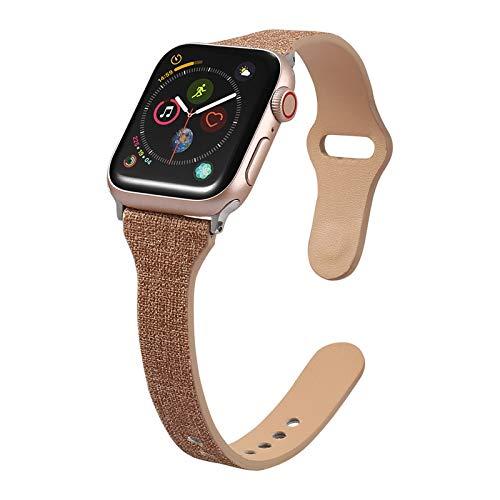 Fhony Correa de Reloj Compatible con Apple Watch 38mm 40mm 42mm 44mm Correa Cuero Repuesto de Correa Reloj para Hombre y Mujer para Iwatch Series 6 5 4 3 2 1 SE,Marrón,38/40mm
