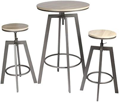 HOME DECO FACTORY HD6735 Table Mange Debout 2 Tabourets Reglables Aria, Bois-MDF, 64 x 64 x 93 cm