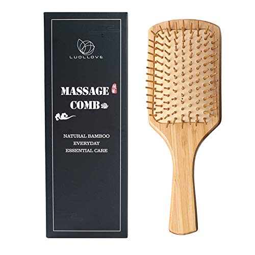 Haarbürste Bambus,LUOLLOVE Paddle Brush Anti Static Glatte Kammzähne Scalps Friendly,für Weihnachtsgeschenke(A Art)