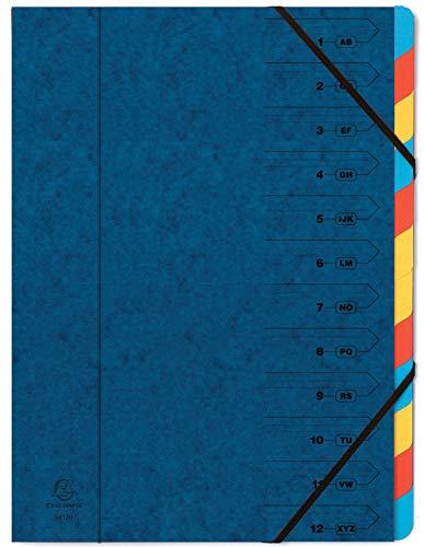 Exacompta 54122E Premium teczka segregująca zszyta z ekstra mocnego kartonu Colorspan A4 12 kolorowych przegródek i 2 gumki narożne nadruk organizacyjny niebieska