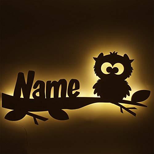 Schlummerlicht24 Led Nachtlicht Wand Lampe Eulen Zauber Eule Geschenke mit Namen Babyzimmer Baby Erstausstattung Wickelzimmer Kinderzimmer Eulenmotiv