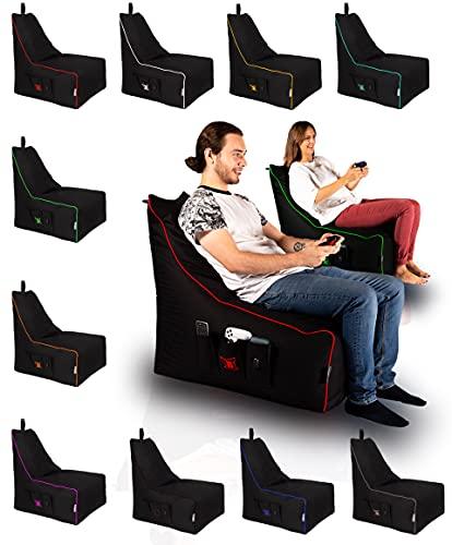BuBiBag Magic Gambler - Gaming Sitzsack - USB Kabel - Gamer Kissen Lounge Riesensitzsack XL mit Reißverschluss und Keder (Weiß)