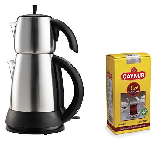 from UK Electric Turkish Tea Maker Tea Pot Caydanlik Kettle Stainless Steel Teapot Gift Turkish Tea 500G