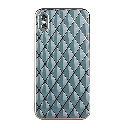 XYOUNG Funda para iPhone XS Max (6.5''), silicona TPU a prueba de golpes oro borde patrón diamante cubierta del teléfono para las niñas mujeres, gris