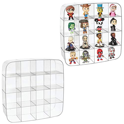 mDesign Plastic Wall Mount Display Organizer Holder - 16 Compartments - Protect  Store and Show Off Small Collectibles  Figurines  Shot Glasses  Nail Polish Colors  Spices - 2 Pack - Clear