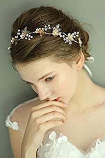 fxmimior - Tiara per capelli da donna, con cristalli, fiore e foglia, accessorio per capelli (oro)