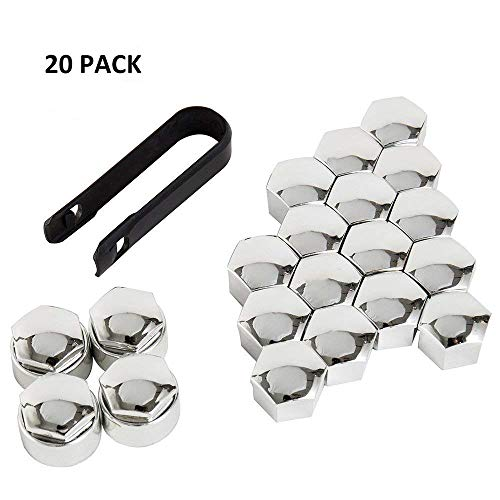 HIMETSUYA 20 Pieces Wheel Nut Cap Wheel Screw Caps 19mm Universal Tire Nut Covers with Removal Tool for Cars Black