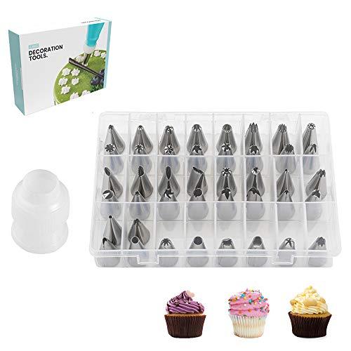 YISUYA Juego de 44 boquillas de crema para tubos de acero inoxidable, incluye 42 puntas de glaseado, 1 pequeño convertidor y caja de regalo para decorar y hornear tartas.