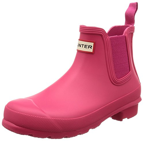Womens Hunter Original Chelsea Waterproof Festival Snow Rain Ankle Boots - Bright Pink - 6
