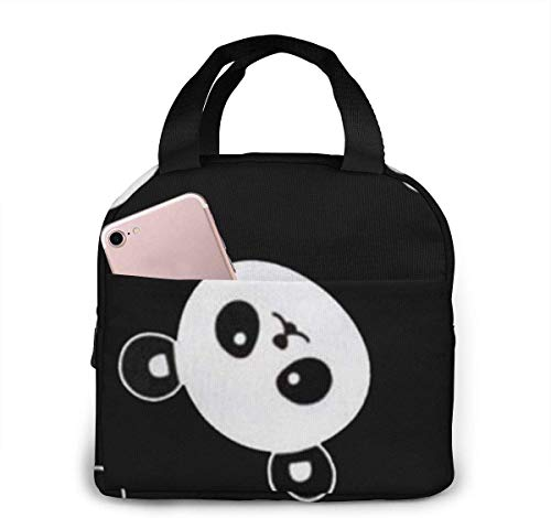 SDFSDF Lunchpaket, Isolierte Lunchbox, Panda Head On Black Portable Insulated Lunch Bag Waterproof Lunch Handbag Food Zipper Storage Lunch Box Keep Warm 4H with Front Pocket