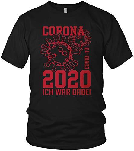 Corona-Virus 2020 Ich war dabei. - COVID-19 - lustiges Motto Motiv Spruch Shirt - Herren T-Shirt und Männer Tshirt, Größe:XXL, Farbe:Schwarz/Rot