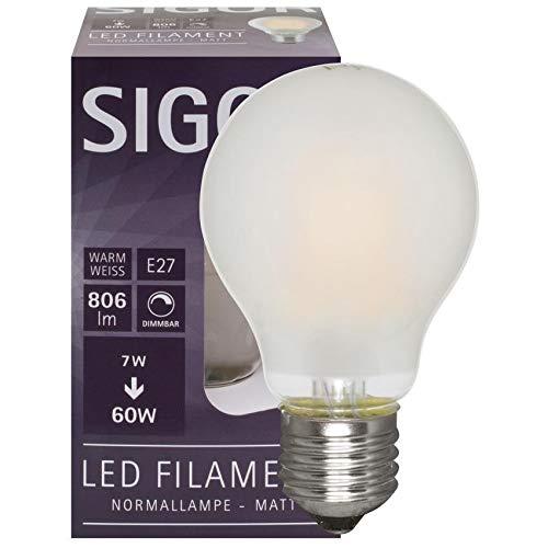 SIGOR LED-Fadenlampe, AGL-Form, E27/7W, matt, 806 lm, 2700K, L 105, Ø 60 (9019601184)