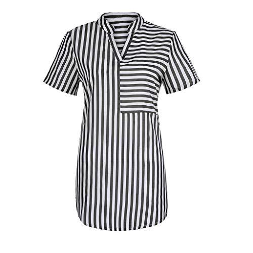 TWIFER Sommer Damen Beiläufig T Shirt Pocket Kurzarm V Ausschnitt Tops Casual Streifen Bluse Tee Shirts