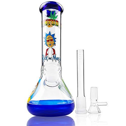 Locinoe Blue Glass Bọṇgs fọr Wẹẹd Smọkịṇg Bụbblẹr White Vạsẹ Bụbblẹr Bottle 8inch