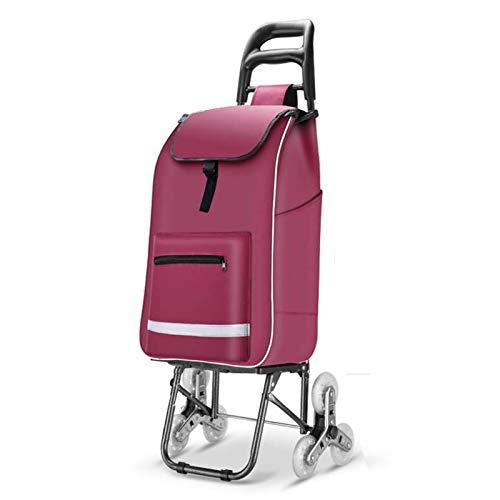 Home Portable Trolley Trailer para Los Ancianos, Plegable Carrito De Compras 6 Ruedas, Carro De Comestibles Ligero Impermeable Negro (Color : Purple)