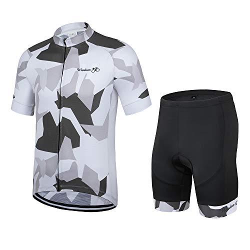 Trajes de ciclismo, manga corta, transpirable, secado rápido, absorbente de humedad + acolchado 3D, culotte con tirantes de bicicleta para hombre [medio] [Camuflaje-blanco]
