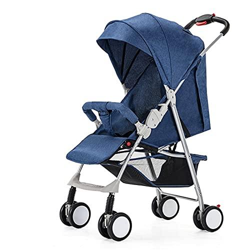 ZXJ Cochecito Ligero de Bebé Compacto Viaje Buggy One Mano Arnés Cinco Puntos Plegable con Respaldo Ajustable (Color : Navy)
