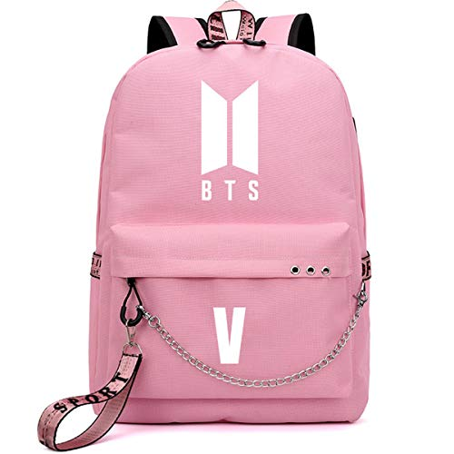 SIMYJOY Unisex Korea POP Rucksack Bangtan Boys Kpop Daypack Laptoptasche College School Bookbag Leichte Jungkook Jimin Sticks mit USB Ladeanschluss Korea POP Fans Geschenke V Pink
