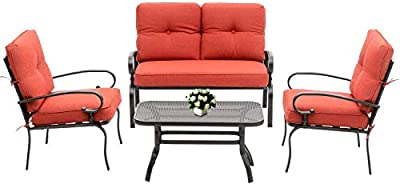 Betterland Outdoor Furniture 4Pcs Patio Conversation Set (Loveseat, Coffee Table, 2 Chairs) Wrought Iron Frame Patio Metal Seating Set with Red Cushions