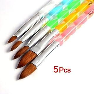 Set de 5 pinceles de amyjazz para uñas, polvo líquido, acrílicos y DIY, n.º 4, 6, 8, 10 y 12