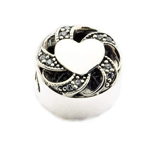 LILANG Pandora 925 Jewelry Bracelet Cuentas Naturales para Hacer Cuentas de corazón de Cinta de Plata esterlina con encantos de Cz Transparentes Silver Berloque Perles Mujeres Regalo de Bricolaje