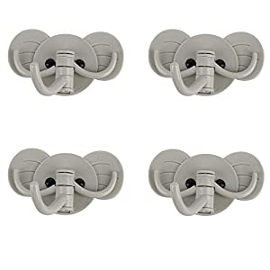 Hotcok Adhesive Hooks,Cute Elephant Waterproof Wall Hooks with 3 Hooks for Bathroom and Bedroom(4-Packs,Green)