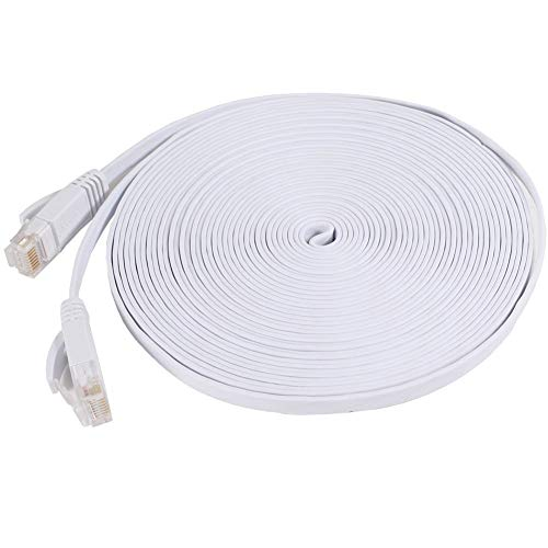 NCElec Weatherproof Flat Cat 6 (Cat6) Ethernet Cable, RJ45 Connector, 32AWG, Up to 1.0 Gbps and 250 MHz (100Ft, White)