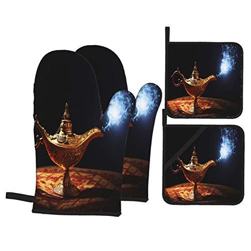 Juego de 4 Guantes y Porta ollas para Horno Resistentes al Calor Magic Lamp Story Aladdin Genie Que aparece para Hornear en la Cocina,microondas,Barbacoa