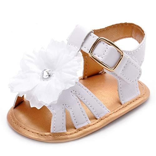 Lacofia Sandalias de Verano para bebé niñas Zapatos de Vestir de Flores de Infantiles para bebé Blanco 3-6 Meses