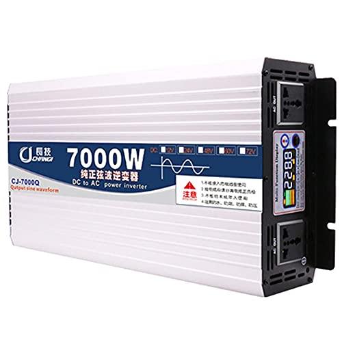 SGSG Inversor de Corriente de 7000W DC 12V / 24V / 48V / 60V a 110V / 220V AC Convertidor Adaptador de Enchufe para automóvil Cargador de Salida, con Dos Ventiladores de enfriamiento para hervido