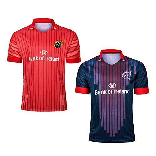 JUNBABY 2019 Irland Münster Rugby Trikot Sportliches Rugby-T-Shirt, Herren Fußball Polo Hemd-red-XL