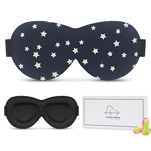 Stylish Contoured Sleep Mask, [Upgraded] Alaska Bear Pro Comfortable & Super Soft Eye Mask for Sleeping, Traveling, Night Shift, Meditation(Navy Stars)