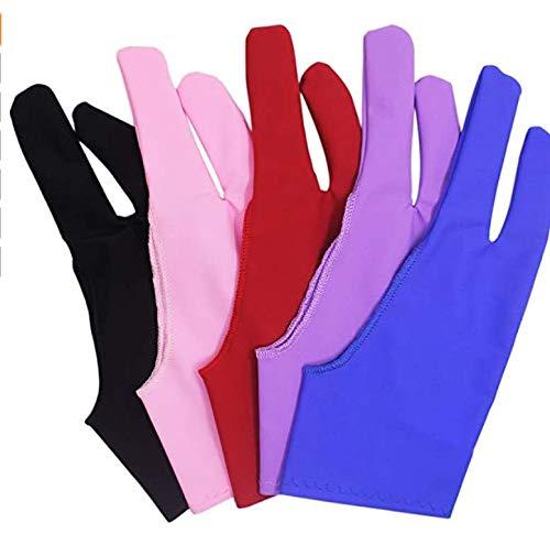 VCRANONR 5 guanti da artista colorati a due dita, guanti da palma, guanti anti-incrostazione, guanti da disegno grafico per grafica, disegno, tablet, scatola leggera e cuscinetto leggero per tracciare
