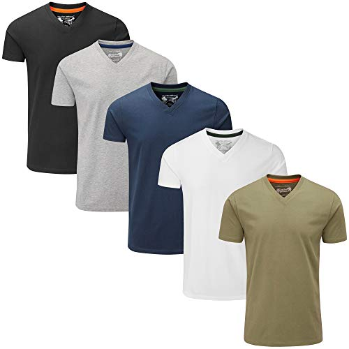 Charles Wilson Paquete 5 Camisetas Cuello Pico Lisas (Medium, Essentials Type 23)