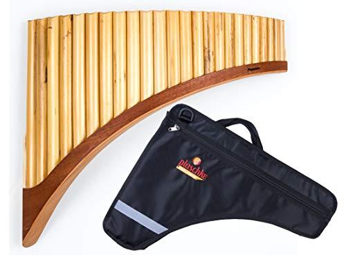 Panflöte aus Bambus, Indianische Flöte, rumänische Bauart, Profi-Flöte 24 Tönen/Rohren in C-Dur mit hochwertigen Holzschuh im SET mit TASCHE, für Anfänger und Fortgeschrittene, handgemacht, handmade von Plaschke Instruments aus Südtirol/Italien