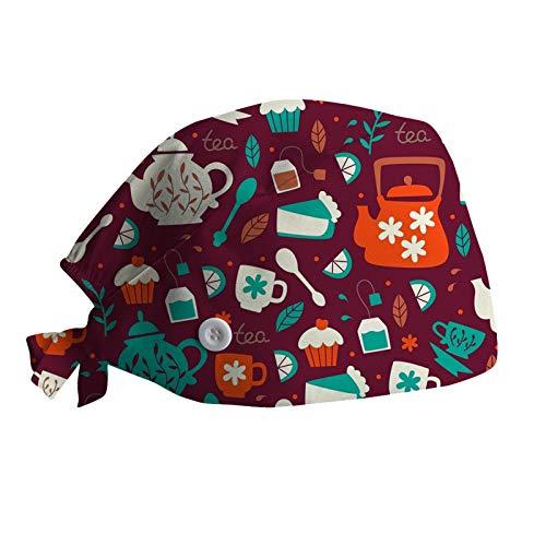 AIchenYW OP Haube Baumwolle Chirurgische Hut Verstellbar Kochmütze Kopfhauben Peeling Kappe für Arzt Krankenschwester Zahnarzt Chemo Bandana Medizinische Kopfbedeckung A03