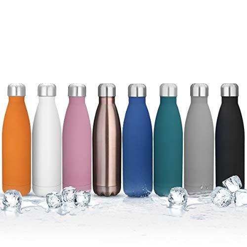 king do way Doppelwandige Edelstahl Trinkflasche Thermosflasche Sportflasche, Trinkflaschen Wasserflasche Reisebecher 500 ml frei für Trinkflasche Kinder, Camping, Wandern, Reisen (Weiß)