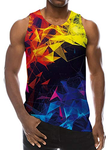 Goodstoworld Mens Colorful Geometry Graphic Tank Tops Guy Boys Workout Fitness Sleeveless Shirts Summer Holiday Camping Cruise 3D T Shirt X-Large