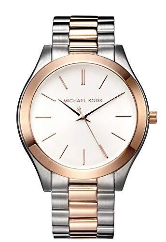 Relógio analógico feminino Michael Kors MK3204 slim Runway dois tons em ouro rosa aço inoxidável marrom mostrador