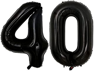 40inch jumbo Black 40 number balloons for 40th Birthday Party Decoration Men Women Party Supplies (Black 40)