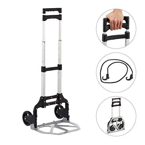 Relaxdays, Silber Sackkarre klappbar, Transportkarre bis 70 kg, PU Räder, höhenverstellbar, für Treppen, zum Einkaufen