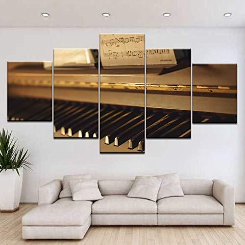 WMWSH Moderne Design Home Dekorative Wandbild Klavier Noten Hd Gedruckt Vlies Leinwandbild Wohnzimmer Bilder 5 Panel Wandkunst Modulare Poster Dekoration