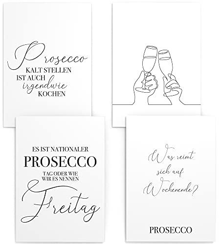 Papierschmiede® Spruch-Poster 4er-Set in DIN A4 | Motiv: Prosecco (deutsch) | Secco Celebration Sekt | Typografie für Zuhause als Kunstdruck ohne Rahmen