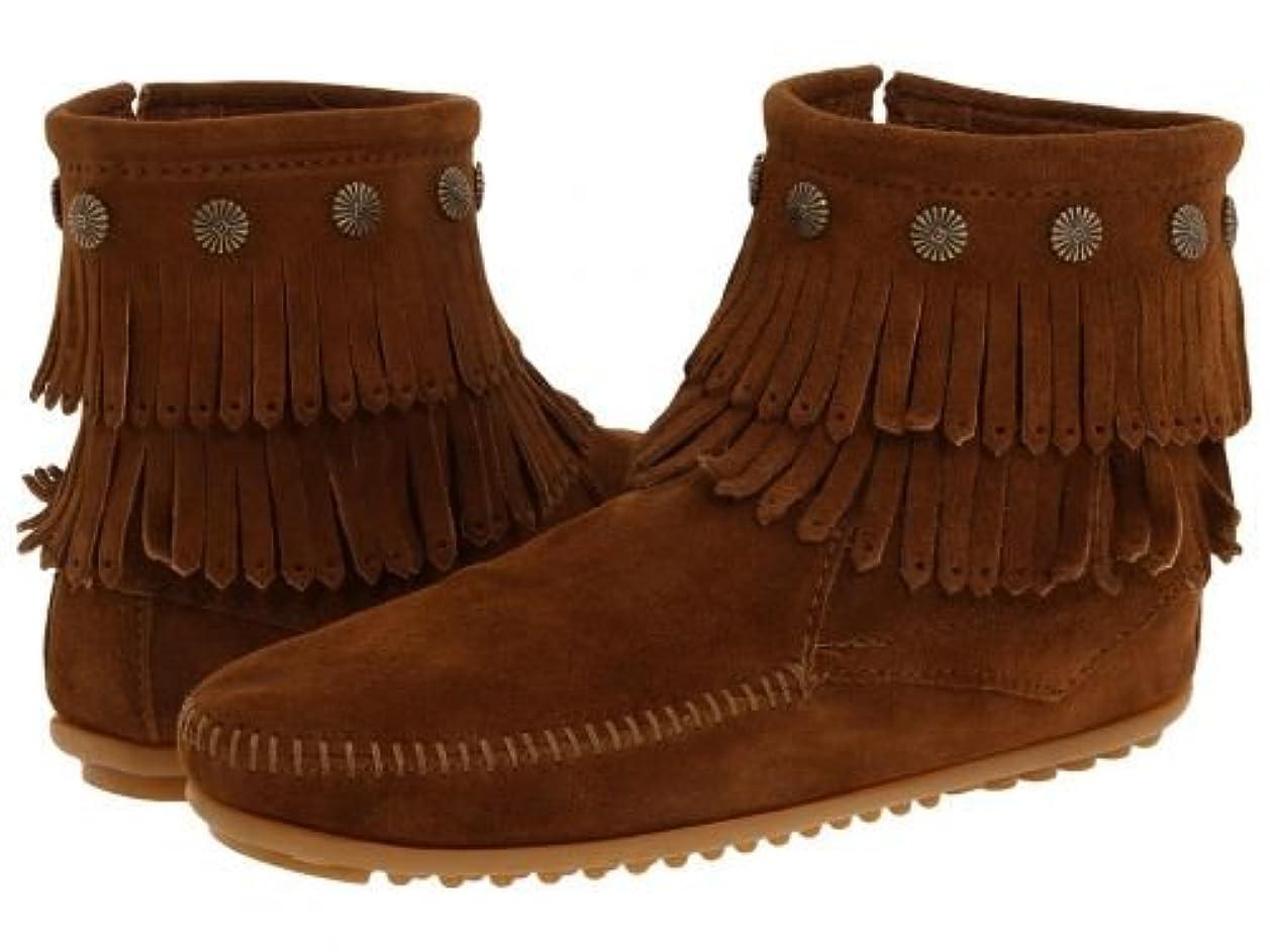 費やす赤字飼い慣らすMINNETONKA(ミネトンカ) レディース 女性用 シューズ 靴 ブーツ アンクルブーツ ショート Double Fringe Side Zip Boot - Dusty Brown Suede [並行輸入品]