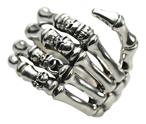 Breiter 925er Silberring Motiv Skelett Hand, Größe:Größe 70 (22.3 mm)