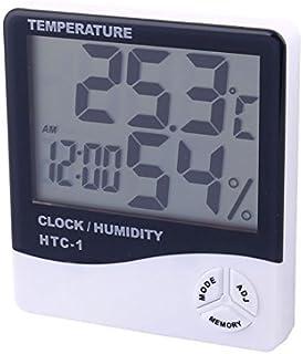 eDealMax higrómetro de la humedad del reloj LCD cubierta al aire Libre termómetro Digital