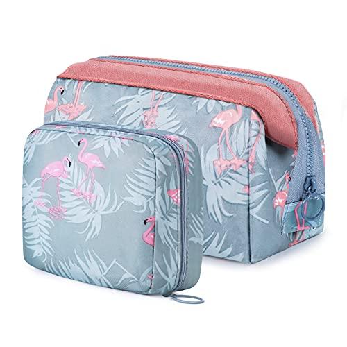 Vamei 2 Piezas Bolsa de Maquillaje para Mujer Bolso de Cosméticos Bolso de tocador Estuche Cosmético Impermeable Neceser de Cosméticos Neceser Flamingo para Mujer Niña Viaje de Vacaciones