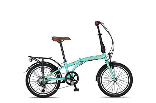 20 Zoll Camping Klapprad Klapp City Fahrrad Klappfahrrad Faltrad Rad Bike 6 Shimano Gang Beleuchtung STVO CUNDA Türkis Blau